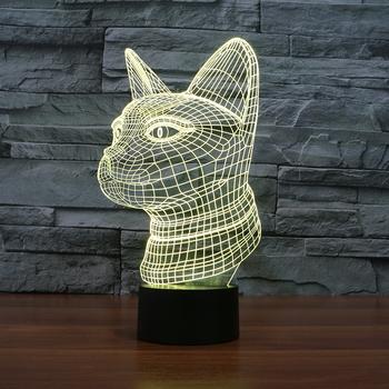 FS 3129 Online Wholesale Decorative Bulbs 3D Illusion LED Night Light Lamp  With Cat Shape