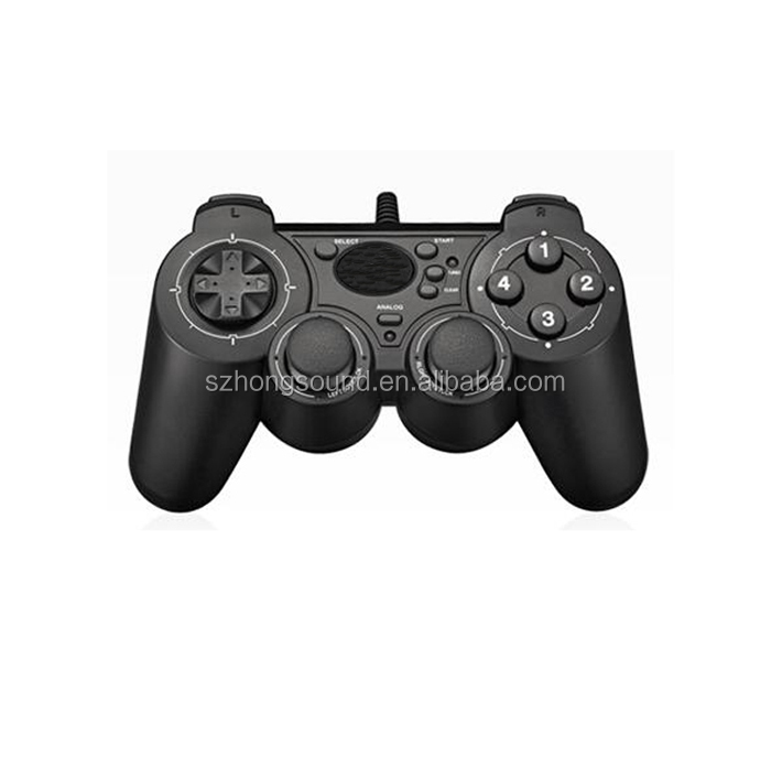 Solid Black Durable Shock Game Accessories Wired Control PC With Gamepad