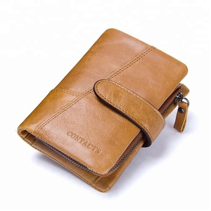 Manufacturer Luxury Custom Genuine Cow Leather Hasp Trifold Mens Wallet