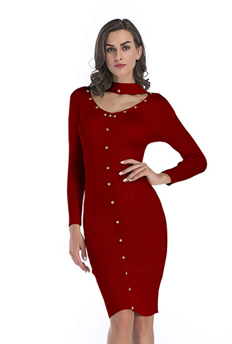61b1e2cd25a8 Get Quotations · Bshare Women's Long Sleeve V Neck Bodycon Sweater Midi  Dresses Slim Fit Knit Dress, BJ11025