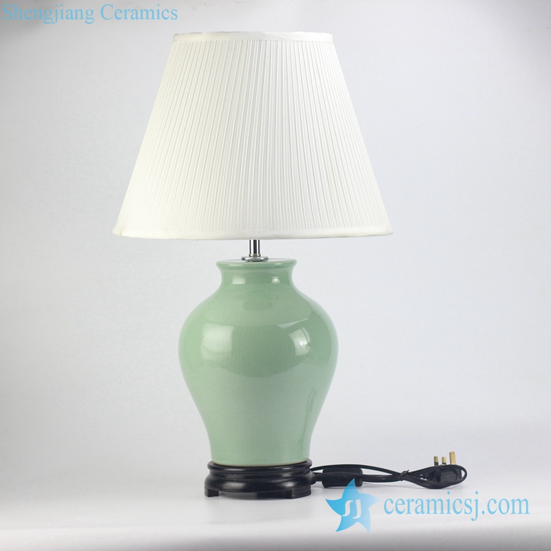 Rzjx02 Celadon Glaze Plain Color Ceramic Table Lamp With Fabric Pleated Shade Green Porcelain Desk