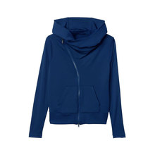 New full zip fashion slim hooded sweatshirt femme