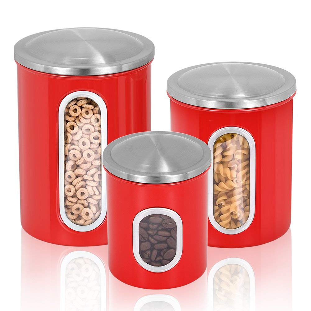 Get Quotations · Fortune Candy Kitchen Airtight Storage Cans Stainless  Steel Canisters Set Of 3 Pieces (Ruby Red
