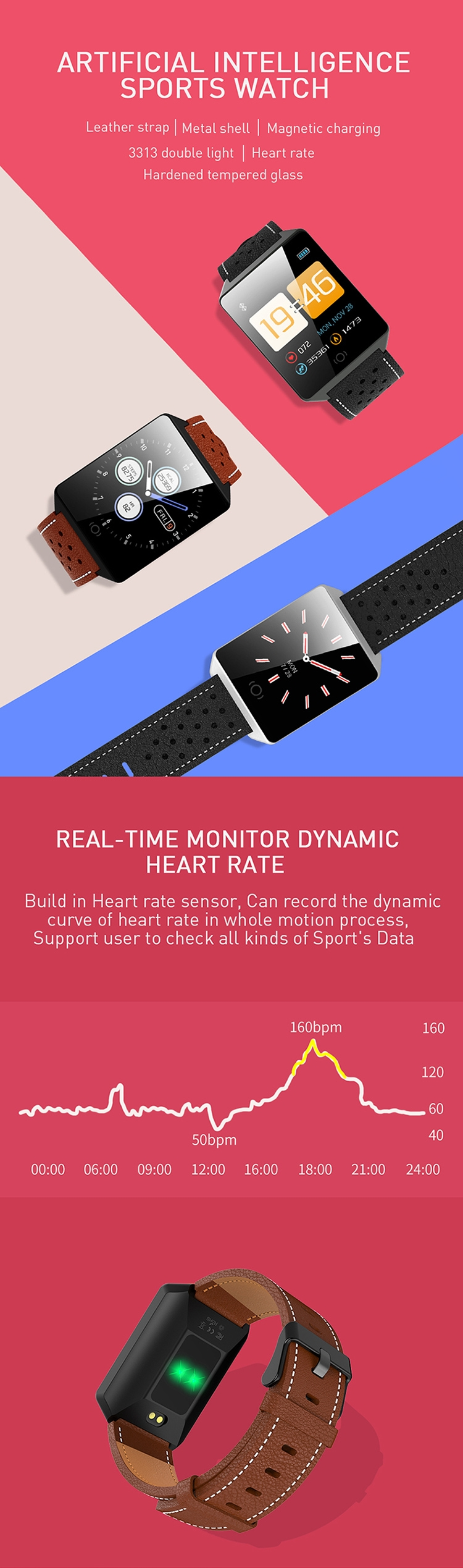Wholesale Bluetooth Sport Smart Watch Hardened Tempered Glass Mirror Smart Watch 2020 Hand Watch Mobile Phone
