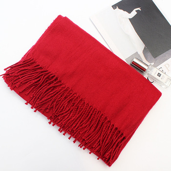 Happy new year fashion red color women cashmere thick scarf winter scarves wholesale