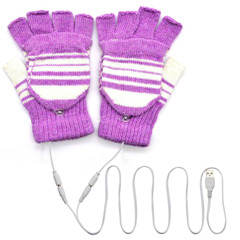 Buy eBerry® USB Heated Stripe Pattern Fingerless Gloves Cold Winter ...