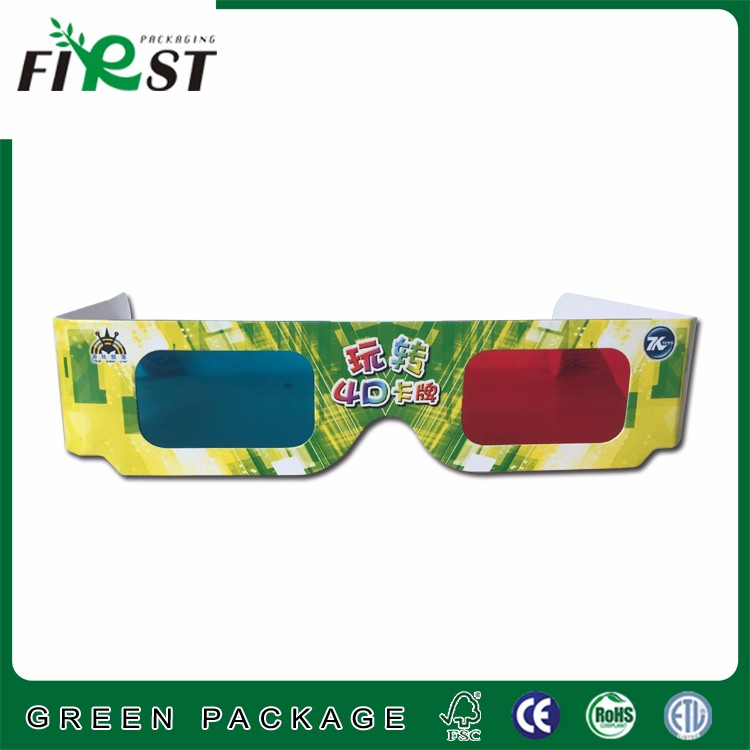 Promotional Customized logo printed Cardboard paper 3D Glasses anaglyph Red and blue glasses adult and children size
