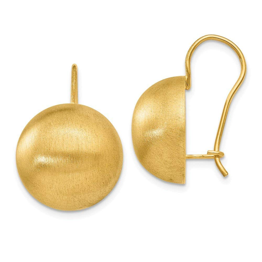 5dce8b999 Get Quotations · 14k Yellow Gold Kidney wire Closed back Hollow Satin  16.00mm Half Ball Earrings