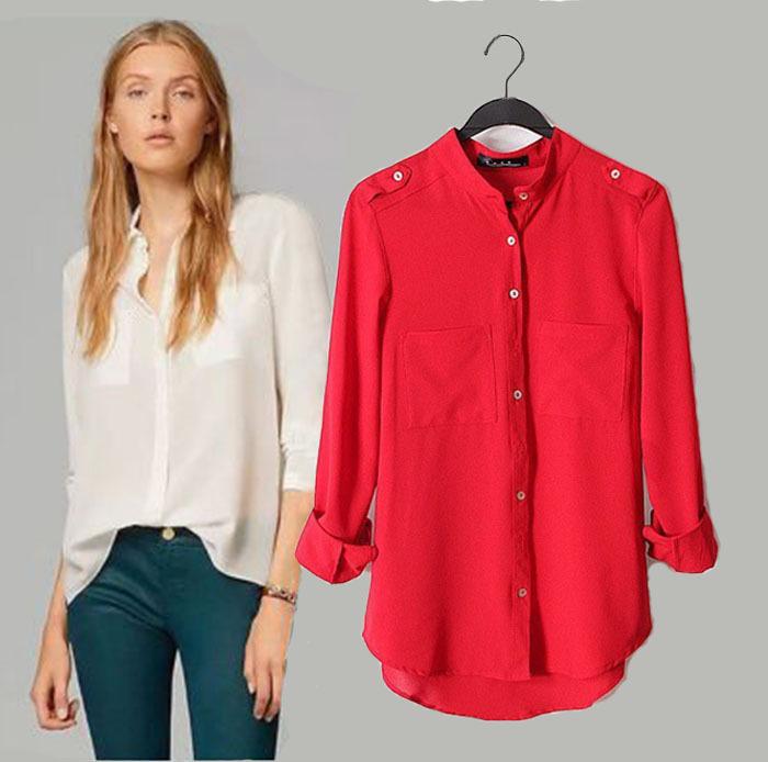 4bf0c599615 ... к 2015 году новых моды бренд Женские Блузки и футболки лето elegent  длинные сексуальный красный белый