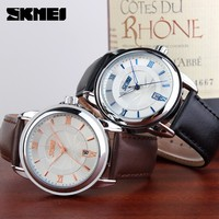 The watch company SKMEI Genuine Leather discount designer mens Watches 9089