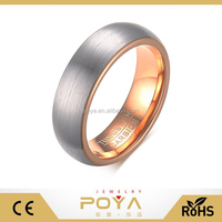 POYA Jewelry 6mm Tungsten Carbide Brush Two Tone Plain Rose Gold Band Wedding Ring