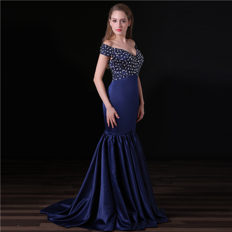cb3498a87f99e Fish Cut Prom Dress Off Shoulder Stone Beaded Satin Long Sex Evening Gown  Dresses