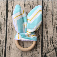 Cheap Personalized chevron Teething Nursing Necklace Modern baby shower gifts fabric wooden teething ring toy