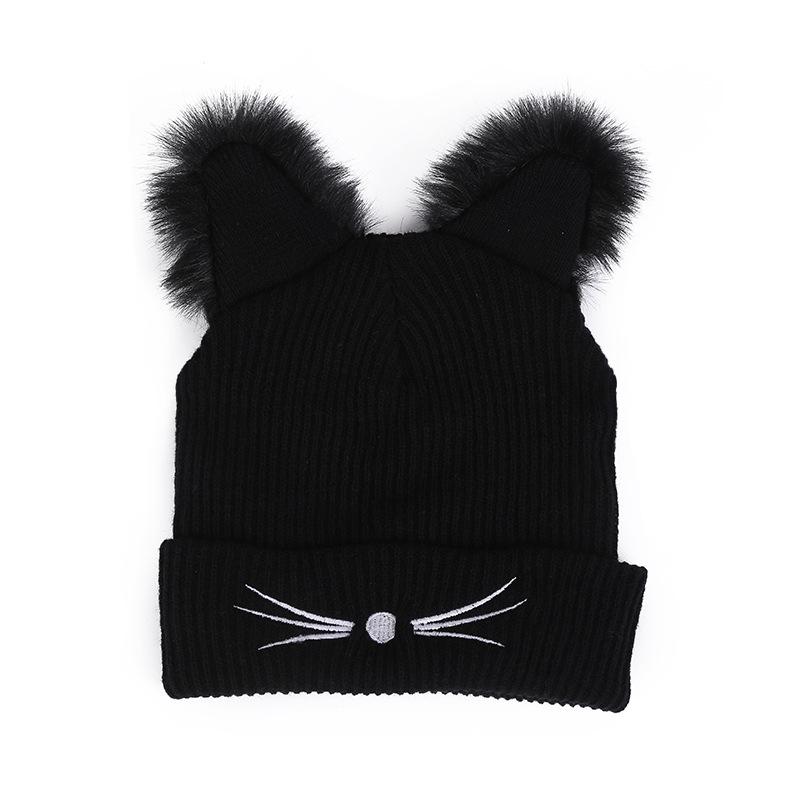36fa0b3260de9 Black Beanie Women s Hat Cat Ear beanie hat Crochet Braided Knit Caps