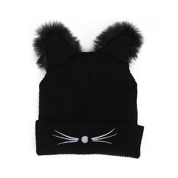 49c0bc5a68c Black Beanie Women s Hat Cat Ear beanie hat Crochet Braided Knit Caps