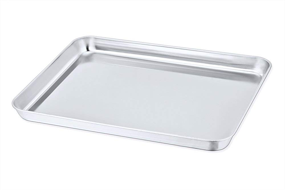 Toaster Oven Pan, P&P Chef Stainless Steel Toaster Oven Tray Bakeware, Rectangle 12.5'' x 10'' x 1'', Non Toxic & Healthy, Rust Free & Dishwasher Safe, Mirror Finish & Easy Clean