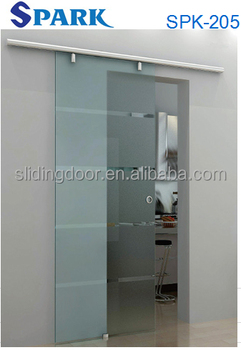 Aluminum Profile Frosted Ground Glass Sliding Door For Bathroom Design