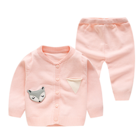 PHB 10057 cartoon fox pattern toddler knitted outfits baby cardigan sets
