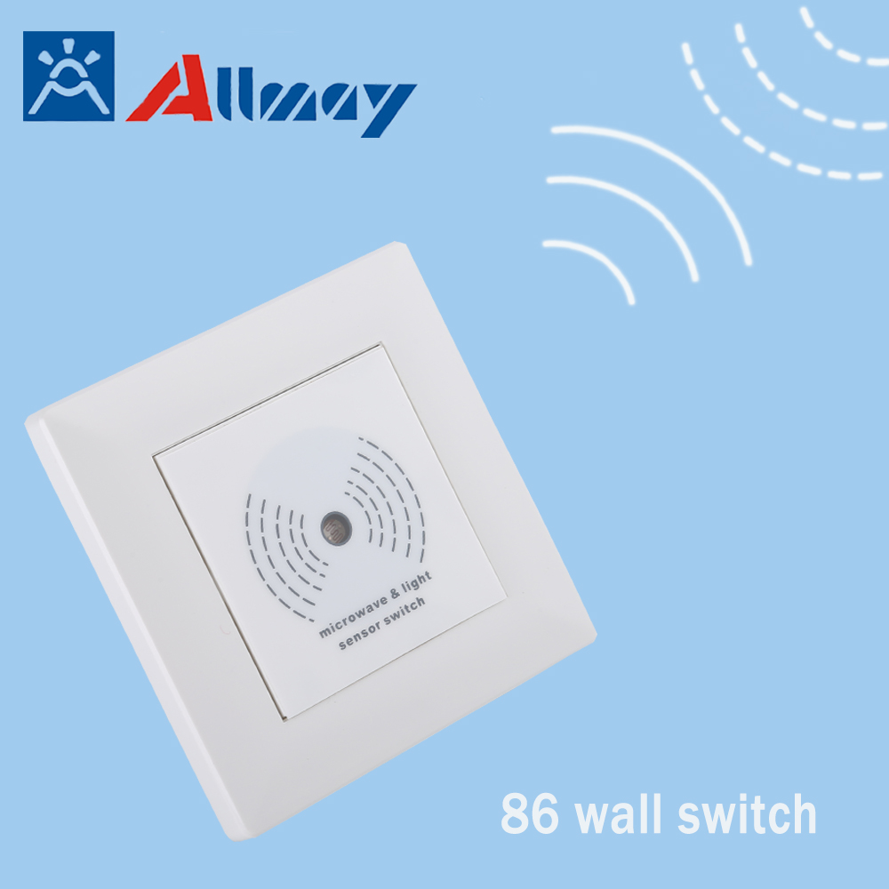 AC220V 200W rader light control delay time switch 86 Wall Mounted Microwave Sensor Switch