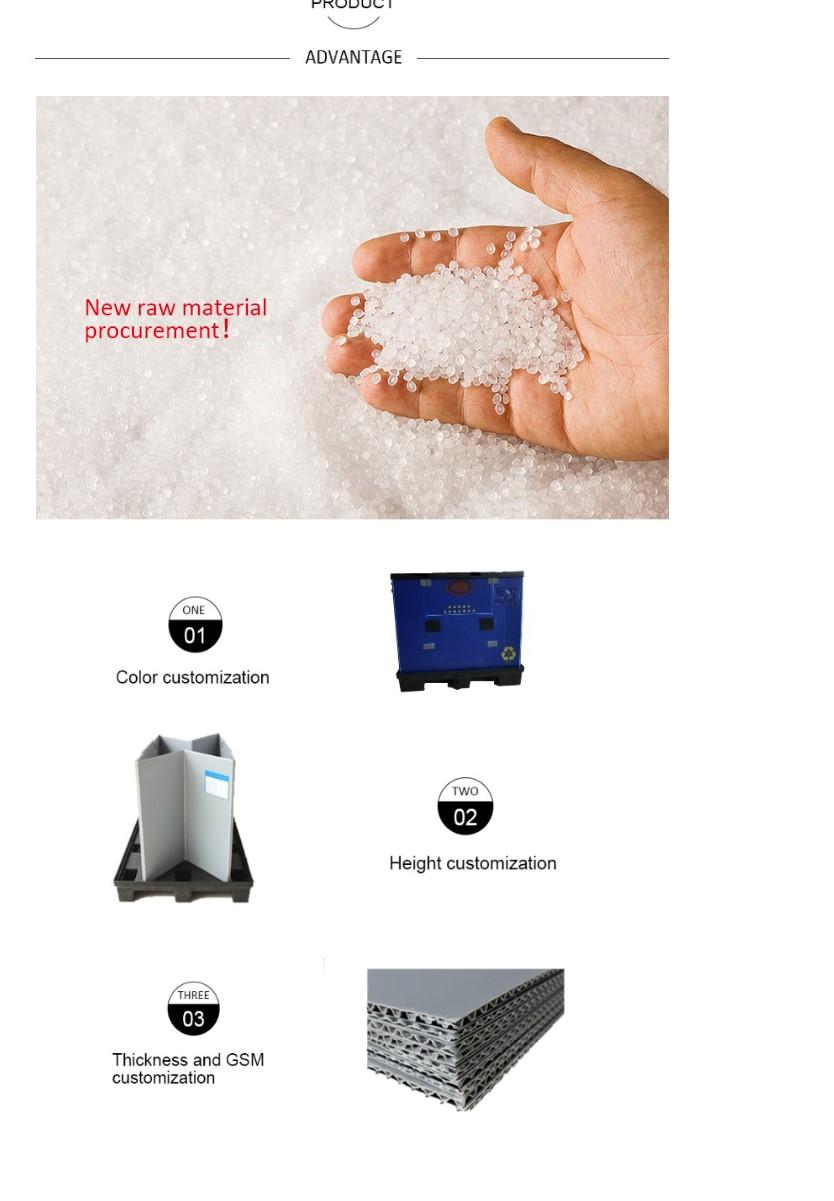 PP kunststoff palette faltbare lagerung box mit injektion deckel und palette