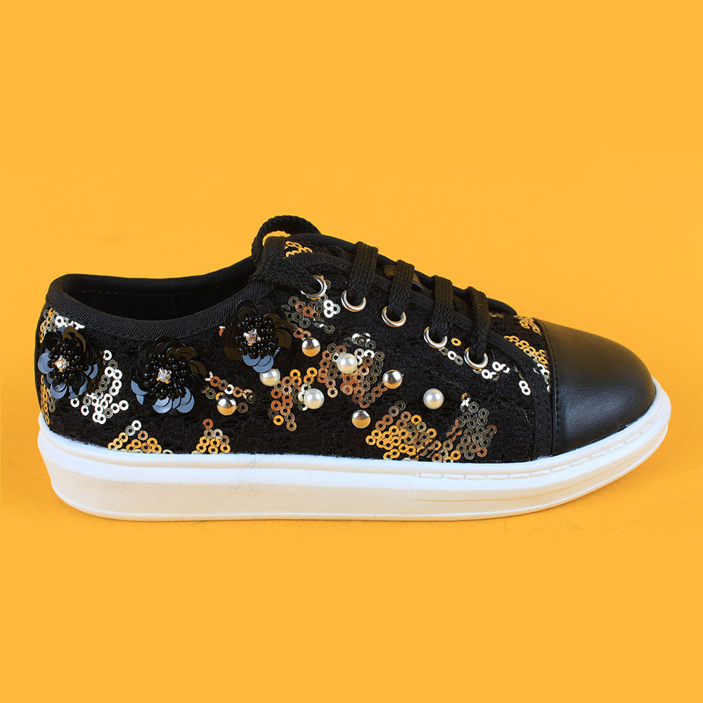 Girls Black Sequin Lace Sneakers Running Shoes with Pearl