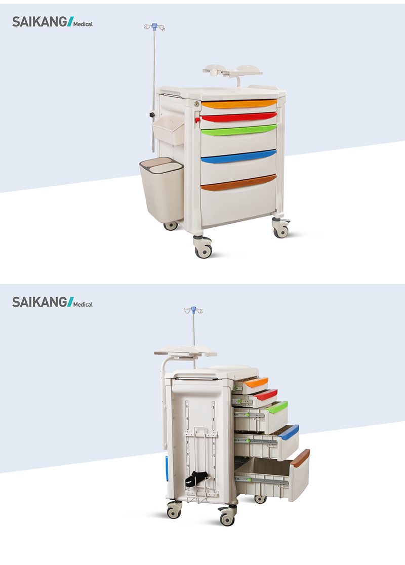 SK-ET750 ABS Functional Hospital Utility Medicine Nursing Trolley For Treatment