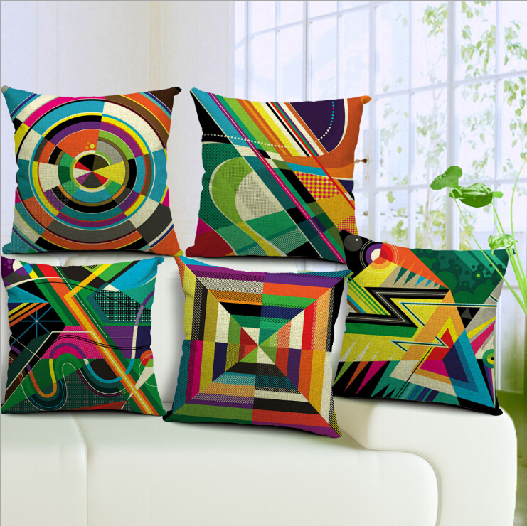 FreeShipping the art of abstract geometric series Cushion Cover Pillow Cases Pillow cover 45x45cm pillowcase for home and office