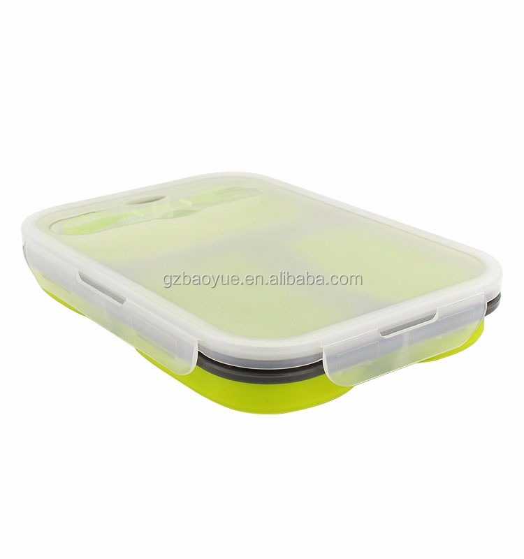 FDA Portable collapsible Silicone folding Lunch Boxes 3 compartment