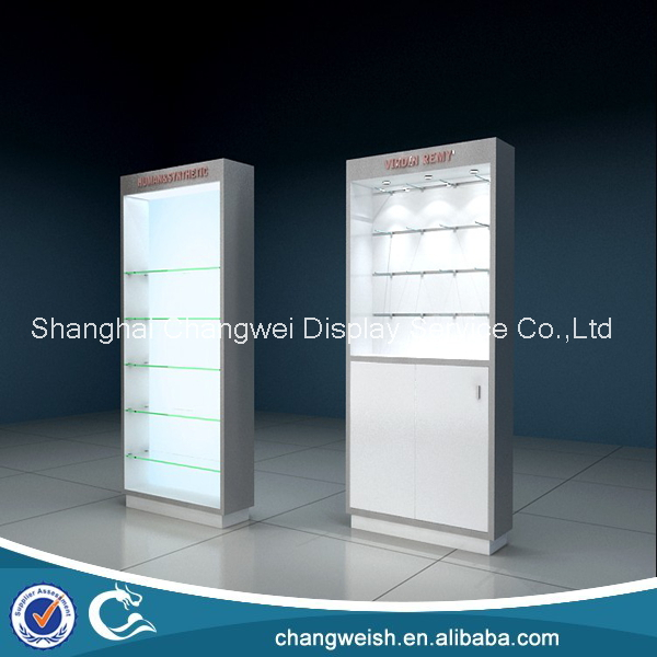 Hair Extension Products Shop Display Cabinet With Glass Shelves And