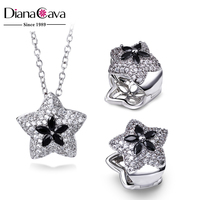 Small Star Pendant Black CZ Brass Metal Trendy Necklace and Earrings Set Jewelry