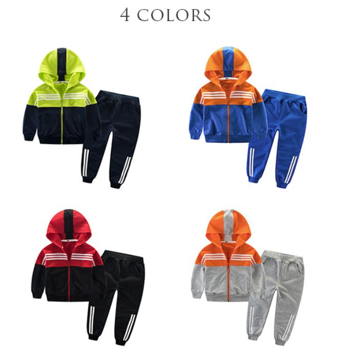 Fall fashion hoodie zipper kids clothing sets boys sports clothes