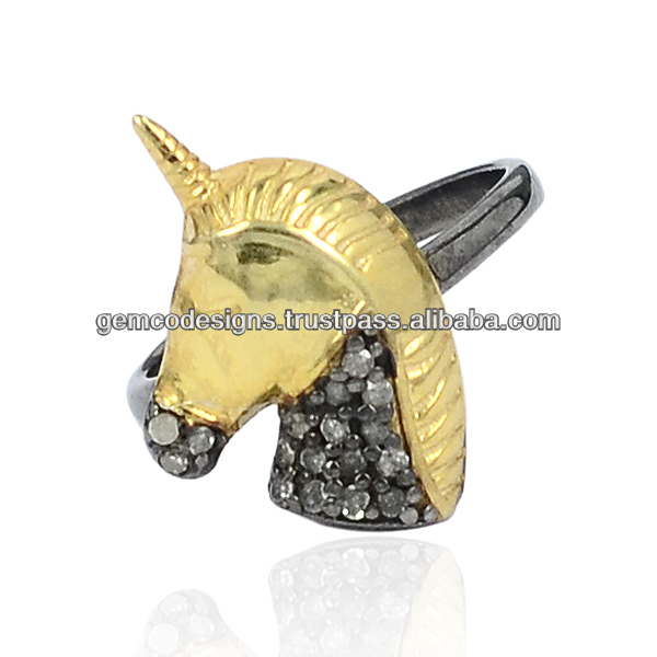 925 Sterling Silver Natural Diamond Studded Unicorn Horse Charm Mid Rings Wholesale Handmade Jewelry