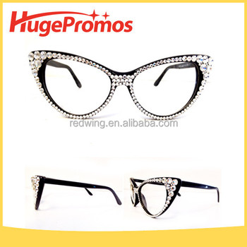 custom fashion vintage crystal cat eye glasses frames
