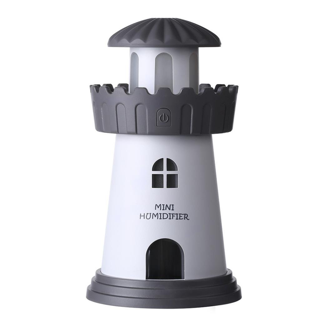Cool Mist Humidifier, Inkach Mini Lighthouse LED Lamp Humidifier Air Diffuser Purifier Atomizer (Gray)