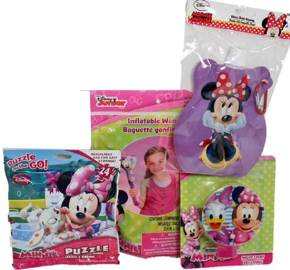 Minnie Mouse Disney Park Set - 4 items:Night Light, travel 24 piece puzzle, Inflatable Wand, Water Bottle