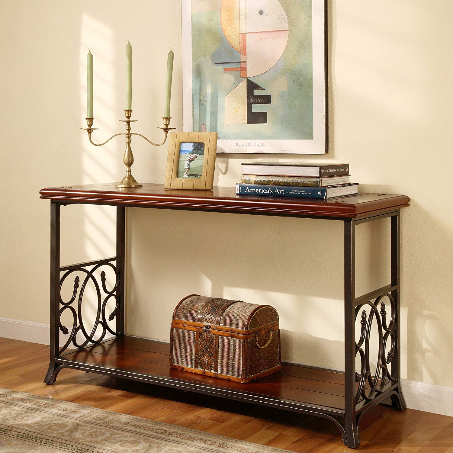 Get Quotations Traditional Metal And Wood Sofa Table Detailed Scrolls On Long Sides Of