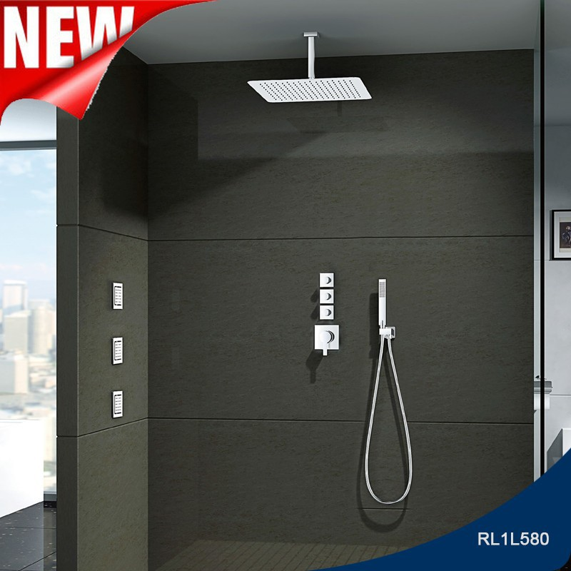 Stainless steel square massage 20 inch sky fall rain shower