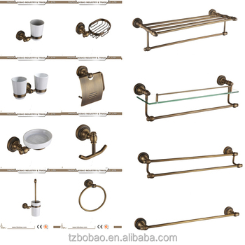 China Old Fashioned Antique Br Sanitary Ware Ceramic Bathroom Accessory Towel Ring Soap Holder Toilet Brush