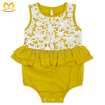 7b2ad0aa1faa Girl Mustard Floral Lace Baby Jumpsuit Lace Ruffle Romper For Kids - Buy  Lace Ruffle Romper For Kids