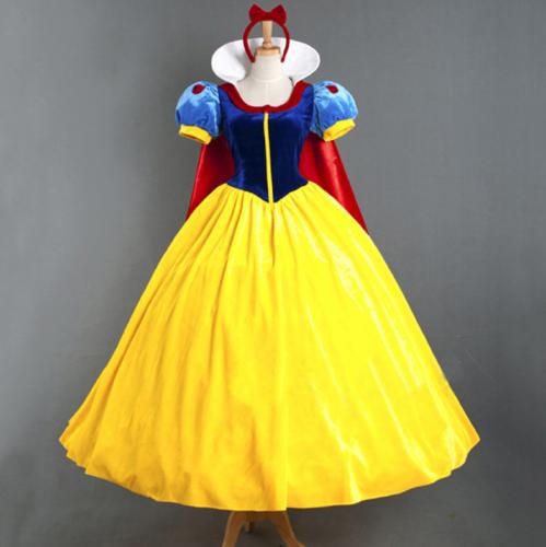 Snow White Cosplay Costume Dres Adult+Petticoat Fairytale Princess Ladies Fancy