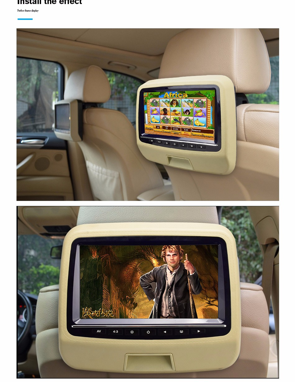 Factory supply 9 inch wide screen car headrest monitor without pillow