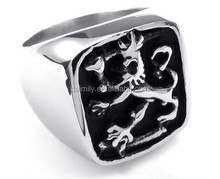China Wholesale Trending Hot Products Stainless Steel Men's Coat of Arms Lion Shield Ring, Stainless Steel Ring, Fashion Jewelry