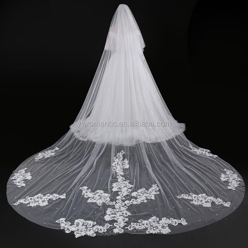 e0b7af5b6 Blanco 5 metros de largo velos de novia 1 nivel capa Vintage boda  accesorios boda velo