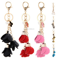 Tassels Leather Key Chain Little Roses Key Ring Women Bags Accessories Hanging Drop Car Hanging