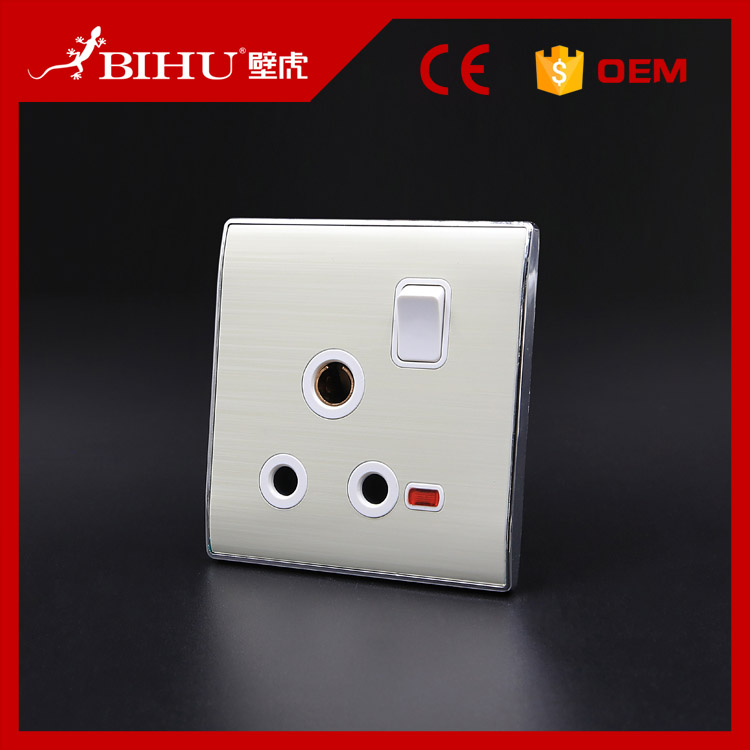 BIHU silver 15A 1 Gang 3 Pin South Africa wall socket with switch