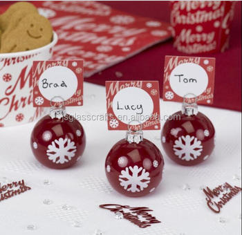 4 Bauble Name Card Holders Gl Christmas Party Table Decorations Place Number