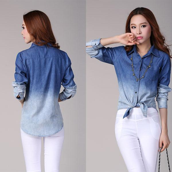 Compra las mujeres blusa de mezclilla online al por mayor