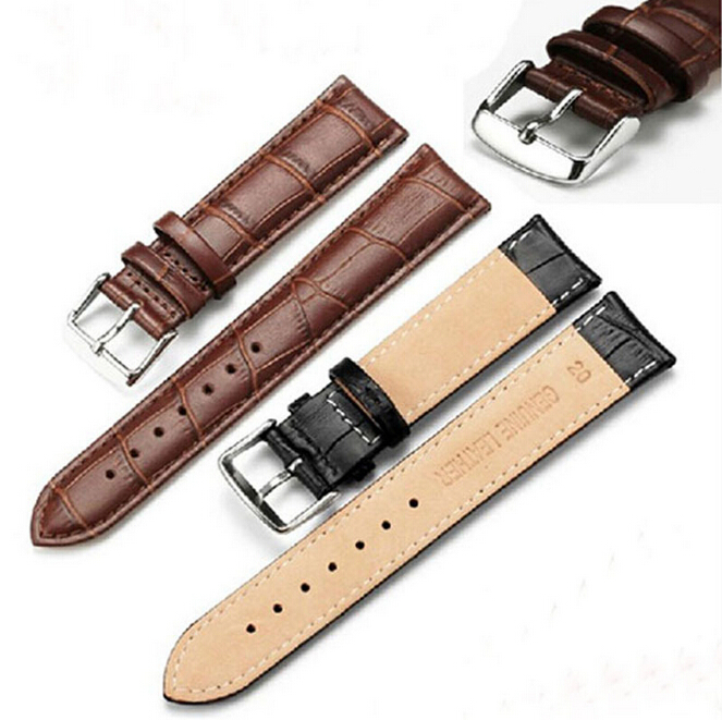 Black Brown Watch Band 18mm,20mm 22mm Thin,Soft,Genuine leather Watch Straps for Tissot for Casio for Rolex