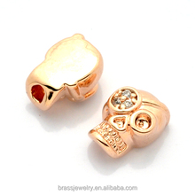 Fashion Rose Gold Plated Zircon Metal Skull Beads