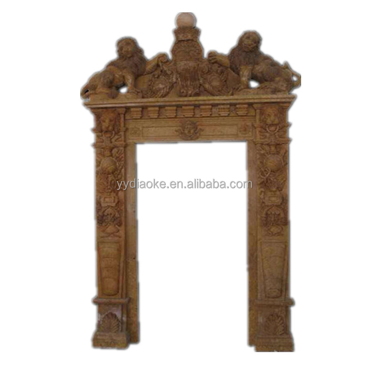 Custom Design Brown Marble Door Frame With Lion - Buy Door Frame ...